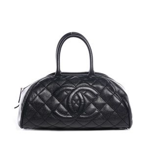 Authentic Chanel Caviar Bowler Tote Bag SHW